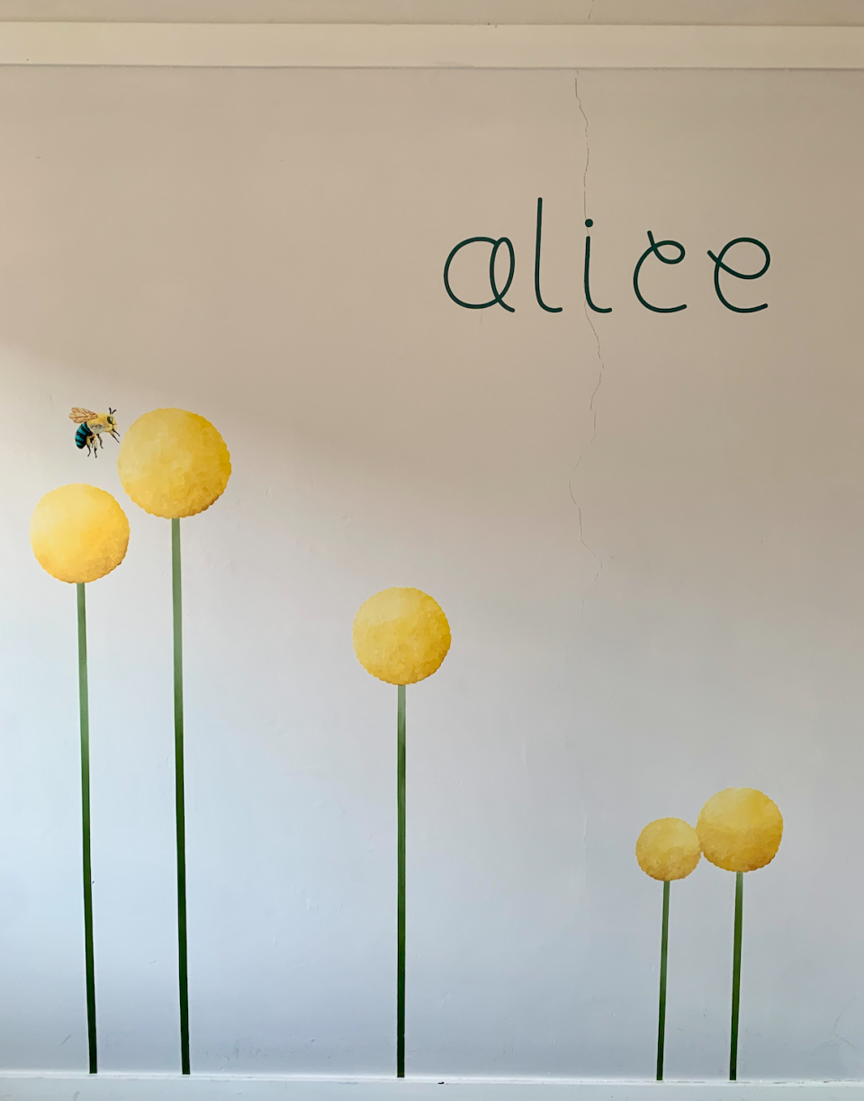 I also used the Cricut to make an 'Alice' wall decal out of vinyl for my toddler's room. Photo: Yahoo Lifestyle