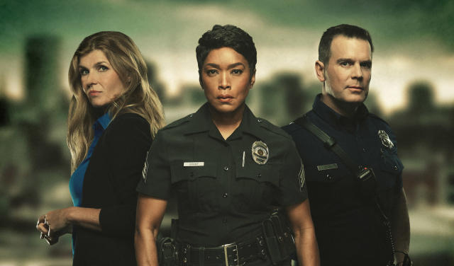 Connie Britton, Angela Bassett, and Peter Krause in <em>9-1-1</em>. (Photo: Mathieu Young/Fox)