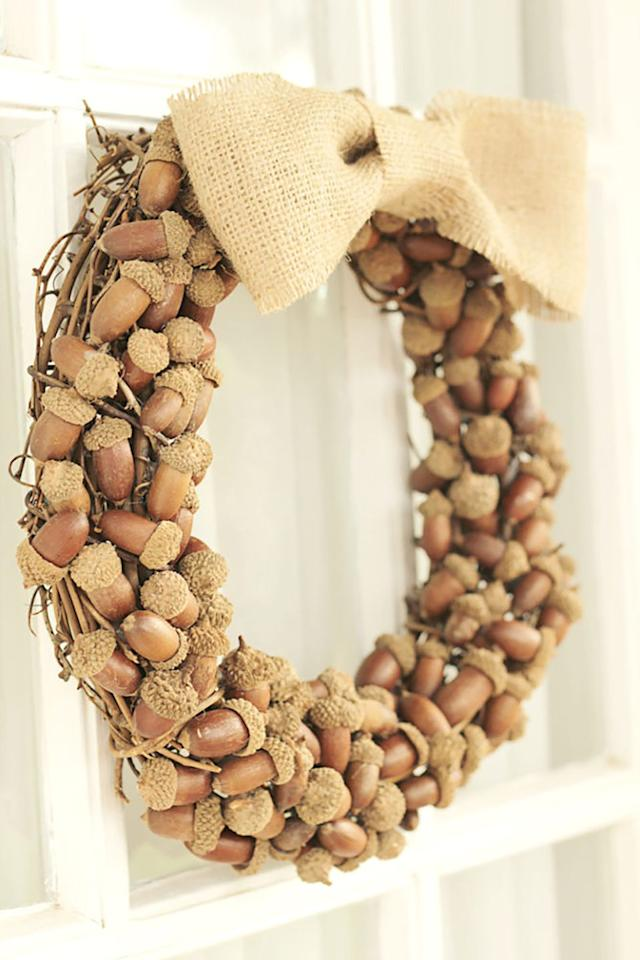"<p>Come fall, leaves and pumpkins are everywhere  -  but sometimes acorns get overlooked. Use small <a rel=""nofollow"" href=""https://www.amazon.com/Dr-Pink-Artificial-Material-Decoration-Christmas/dp/B06X3ZYV22/"">decoration acorns</a> to instantly spruce up a bare <a rel=""nofollow"" href=""https://www.amazon.com/Bulk-Buy-Darice-Grapevine-Wreath/dp/B0033M0HG4/"">grapevine wreath</a>.<strong> </strong></p><p><strong>Get the tutorial at <a rel=""nofollow"" href=""http://blog.consumercrafts.com/seasonal/acorn-fall-wreath/"">Crafts Unleashed</a>. </strong></p>"