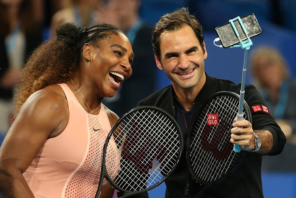 Serena Williams (pictured left) and Roger Federer (pictured right) take a selfie.