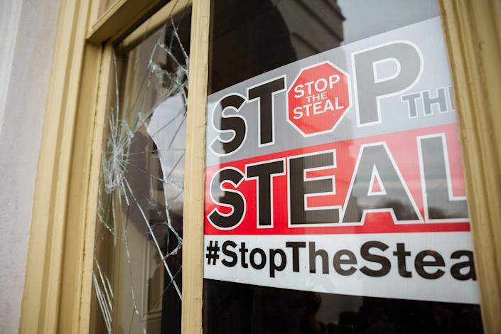 A Stop The Steal is posted inside of the Capitol Building after a pro-Trump mob broke into the U.S. Capitol on January 6, 2021 in Washington, DC.