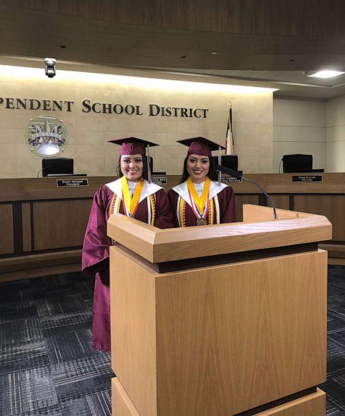 PHOTO: A set of twins, Judith and Janette Briseño, 17, have been named valedictorian and salutatorian of Mesquite High School's graduating class of 2020 in Texas. Judith and Janette will both attend Texas A&M University. They hope for careers in medicine. (Josue Briseño)