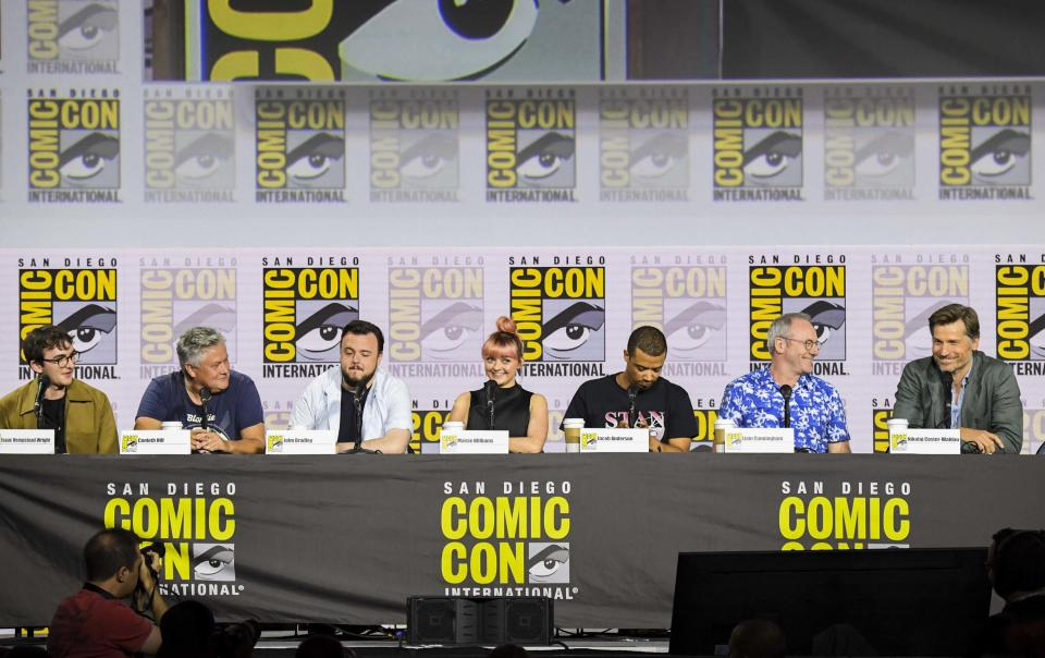 "SAN DIEGO, CALIFORNIA - JULY 19: Liam Cunningham, Conleth Hill, Isaac Hempstead, Isaac Hempstead, Maisie Williams, Nikolaj Coster-Waldau, and Jacob Anderson at ""Game Of Thrones"" Comic Con Autograph Signing 2019 on July 19, 2019 in San Diego, California. (Photo by Jeff Kravitz/FilmMagic for HBO)"
