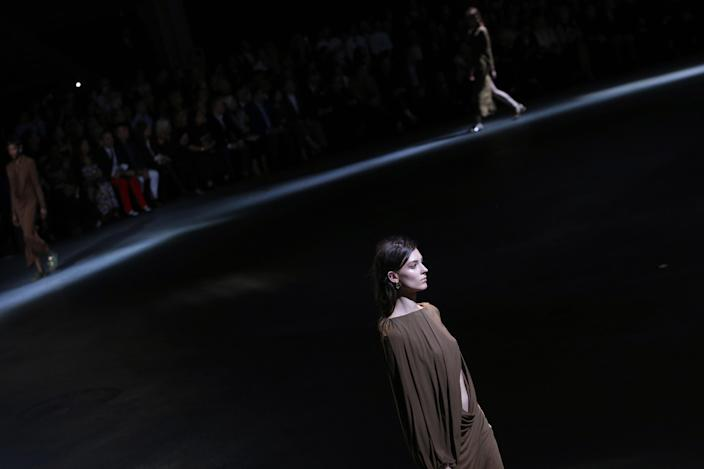 Models present creations as part of Givenchy's ready-to-wear Spring/Summer 2014 fashion collection, presented Sunday, Sept. 29, 2013 in Paris. (AP Photo/Christophe Ena)