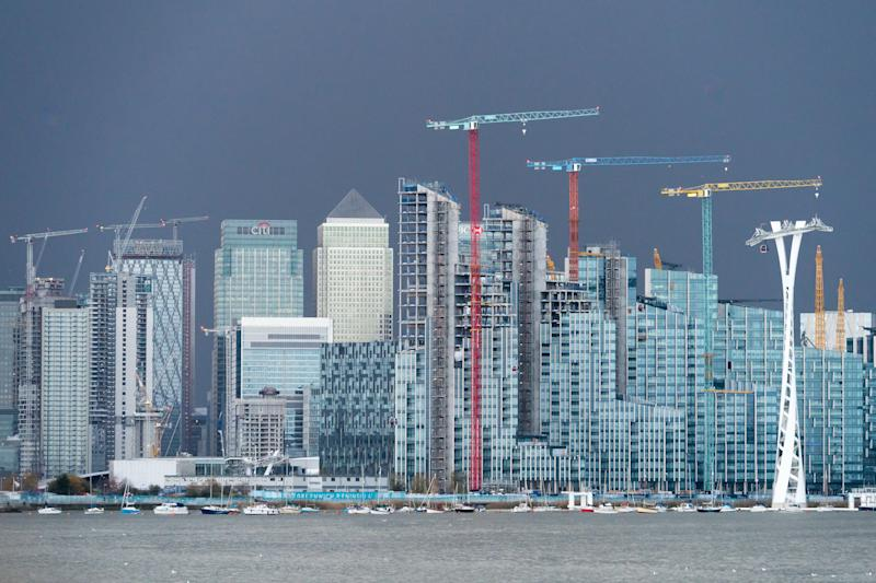 A view towards the financial centre of Canary Wharf in London. From the Open City Thames Architecture Tour East. Photo date: Saturday, November 10, 2018. Photo credit should read: Richard Gray/EMPICS