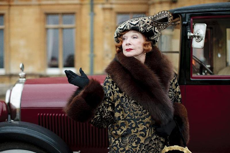 """This undated publicity photo provided by PBS shows Shirley MacLaine as Martha Levinson from the TV series, """"Downton Abbey."""" The third season premiere airs in the U.S. on Sunday, Jan. 6, 2013 on PBS. (AP Photo/PBS, Carnival Film & Television Limited 2012 for MASTERPIECE, Nick Briggs)"""