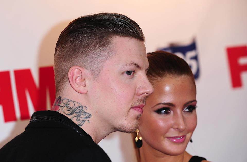 Professor Green and Millie Mackintosh arrive at the FHM 100 Sexiest Women In The World 2012 launch party at Proud Bank in London. (Photo by Ian West/PA Images via Getty Images)