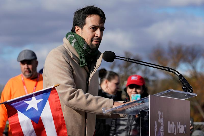 Lin-Manuel Miranda speaks to the crowd at the Lincoln Memorial in Washington on Sunday. (Yuri Gripas/Reuters)