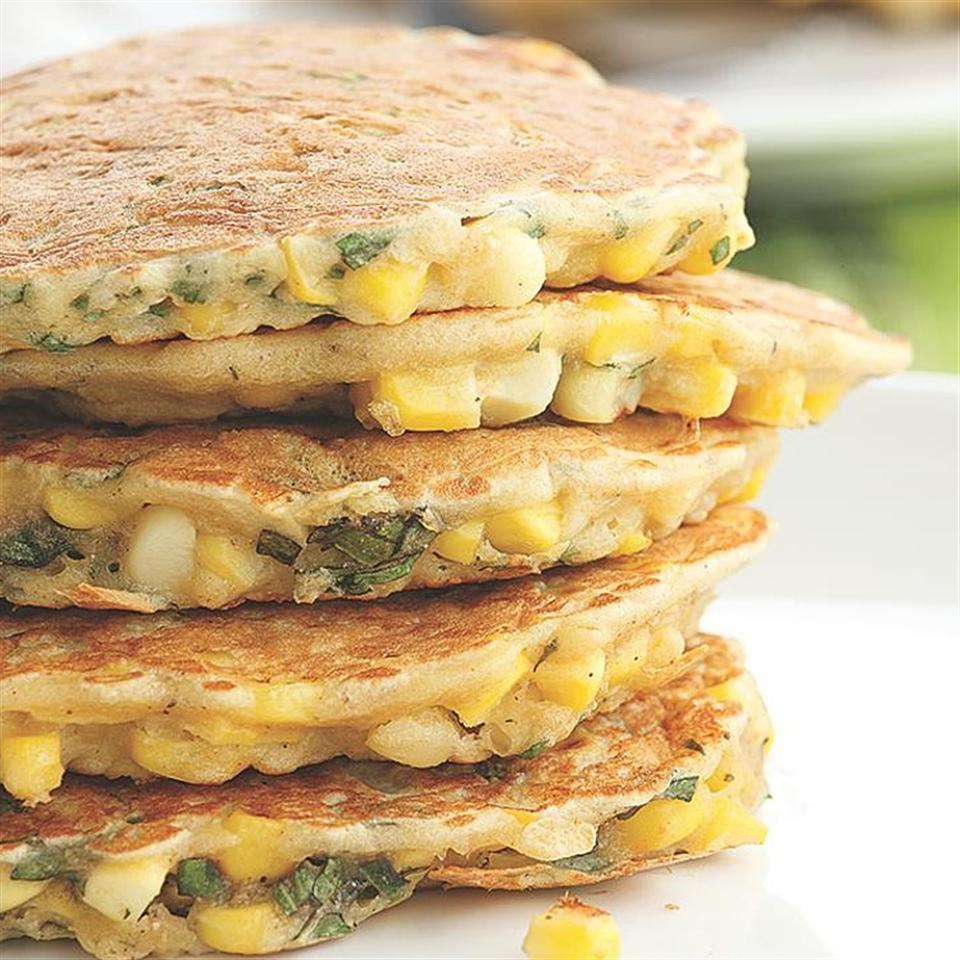 <p>Try these savory corn-and-basil pancakes as a side dish with barbecued chicken or grilled steak.</p>