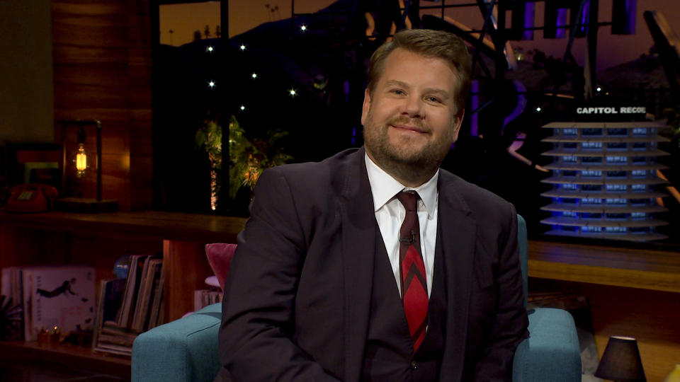 James chats with guests on THE LATE LATE SHOW WITH JAMES CORDEN. (Photo by CBS via Getty Images)