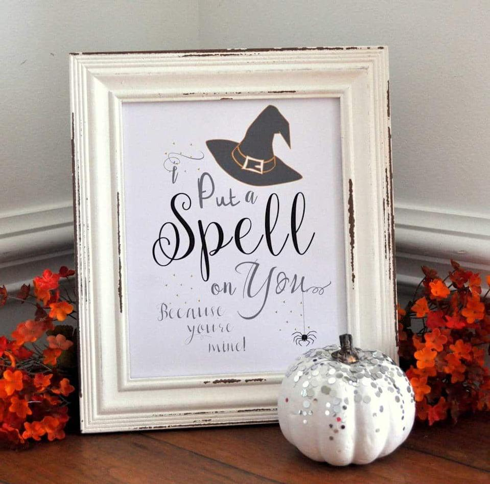 """<p>These witchy printable signs will look charming printed out and framed on your mantle or tabletop. Try the chalkboard-look version or the white background — or mix and match both.</p><p><em><a href=""""https://madeinaday.com/witch-chalk-art-free-printables/"""" rel=""""nofollow noopener"""" target=""""_blank"""" data-ylk=""""slk:Get the printable at Made In a Day »"""" class=""""link rapid-noclick-resp"""">Get the printable at Made In a Day »</a></em></p>"""