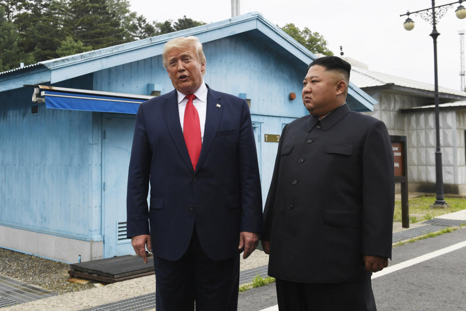 FILE - In this June 30, 2019, file photo, President Donald Trump meets with North Korean leader Kim Jong Un at the border village of Panmunjom in the Demilitarized Zone, South Korea. Trump is defending his North Korea policy at campaign rallies even though he's joined a list of U.S. presidents unable to eliminate the nuclear threat from Kim Jong Un. (AP Photo/Susan Walsh, File)