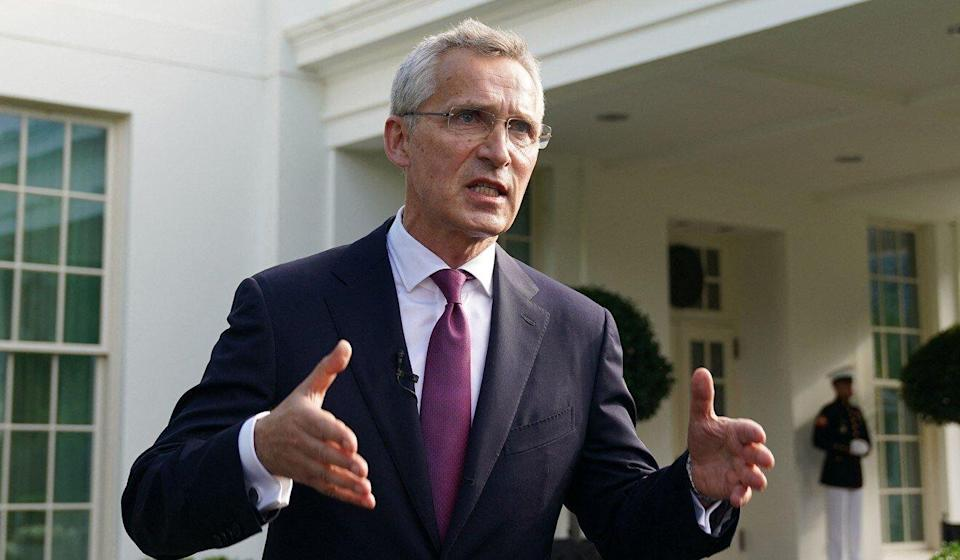 Nato Secretary General Jens Stoltenberg speaks to reporters outside the White House after meeting with US President Joe Biden on Monday. Photo: AFP