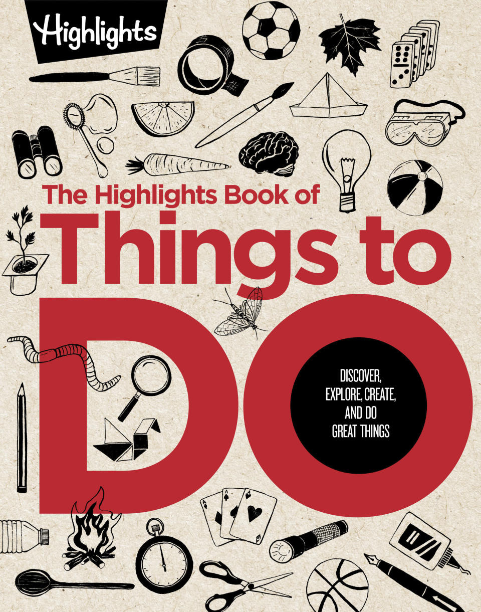 """This image released by Highlights Press shows """"The Highlights Book of Things to Do: Discover, Explore, Create, and Do Great Things,"""" featuring hundreds of activities for $24.99. (Highlights Press via AP)"""