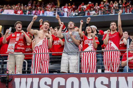 Wisconsin Badgers fans celebrate a touchdown during the Cotton Bowl matchup between the Western Michigan Broncos and the Wisconsin Badgers on January 2, 2017 at AT&T Stadium in Arlington, TX. Wisconsin won the game 24-16.