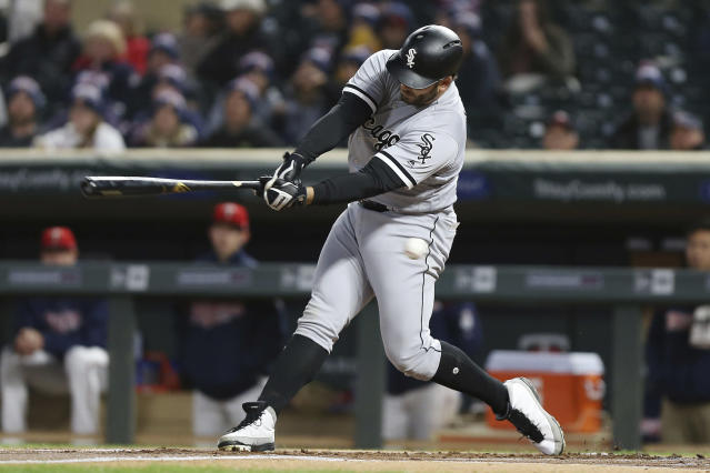 Chicago White Sox's Daniel Palka swings for a strike at the plate against the Minnesota Twins in the second game of a baseball doubleheader Friday, Sept. 28, 2018, in Minneapolis. (AP Photo/Stacy Bengs)