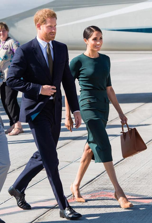 <p>Prince Harry and Meghan arrive at Dublin airport during their visit to Ireland last month. (Photo: Samir Hussein/WireImage) </p>