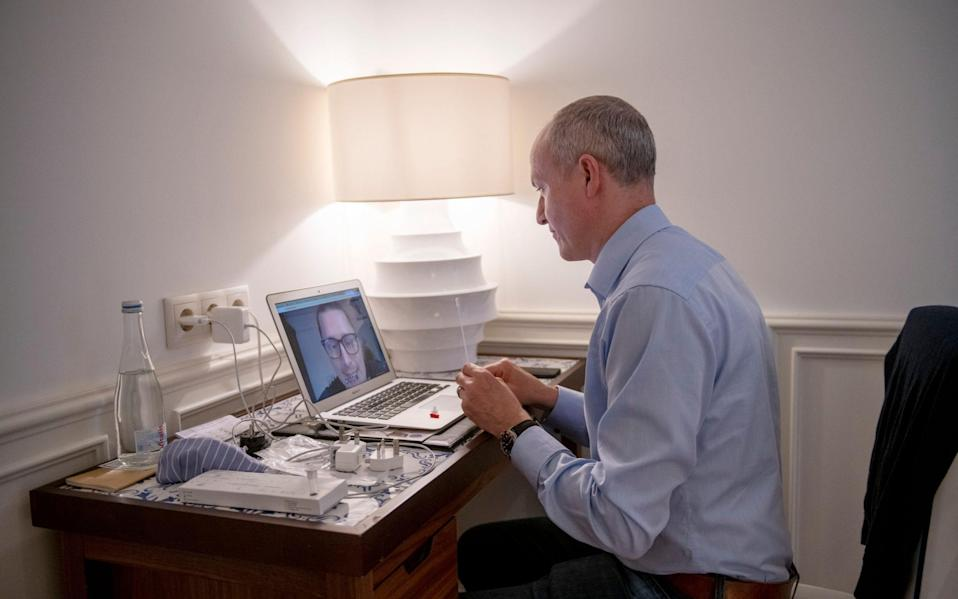 Gordon Rayner does a covid test via video link before travelling back to London from Lisbon - Geoff Pugh for The Telegraph