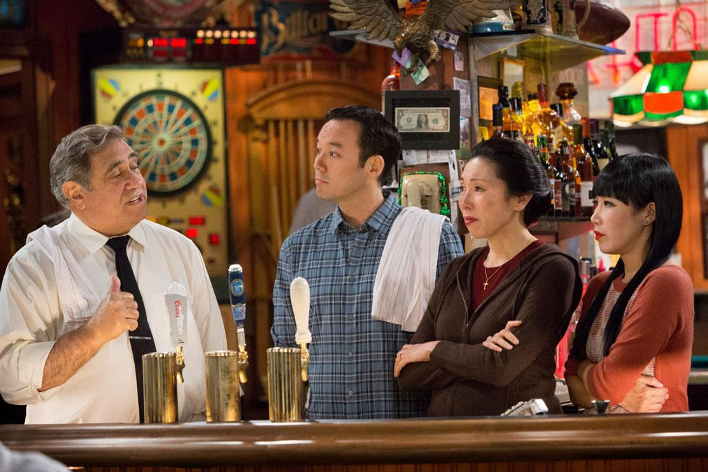 "Dan Lauria, Steve Byrne, Jodi Long, and Vivian Bang in the ""Sullivan & Son"" Season 2 Premiere, ""The Pilot, One More Time."""