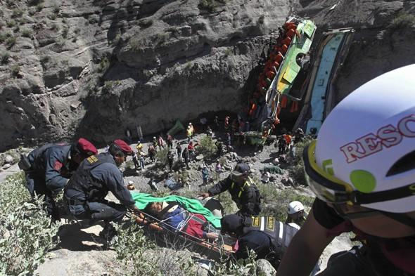 Bus plunges 260ft off cliff killing 19 people in Peru