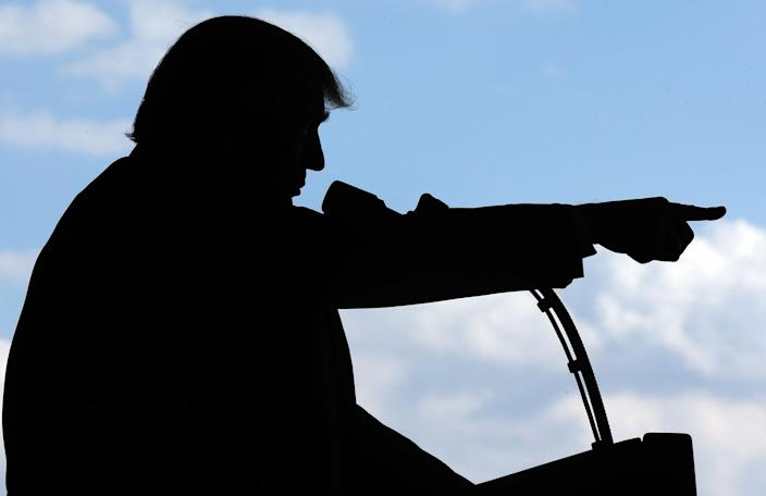 <p>President Donald Trump addresses U.S. military troops and their families at the Sigonella Naval Air Station, in Sigonella, Italy, Saturday, May 27, 2017. (Photo: Luca Bruno/AP) </p>