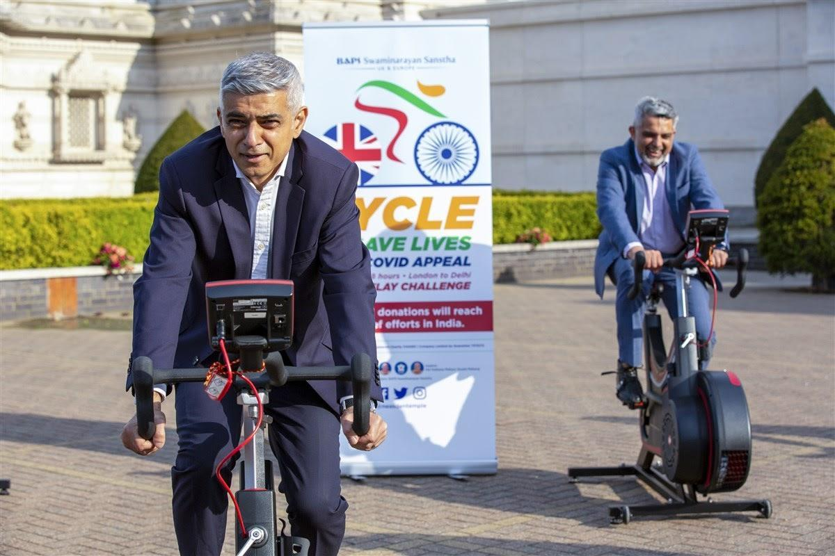 Sadiq Khan said he was 'truly humbled and inspired by the work of Neasden Temple'. (BAPS Swaminarayan Sanstha, UK)
