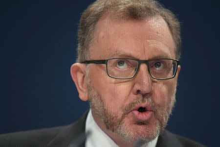 Scottish Secretary Mundell delivers his keynote address during the annual Conservative Party Conference in Birmingham