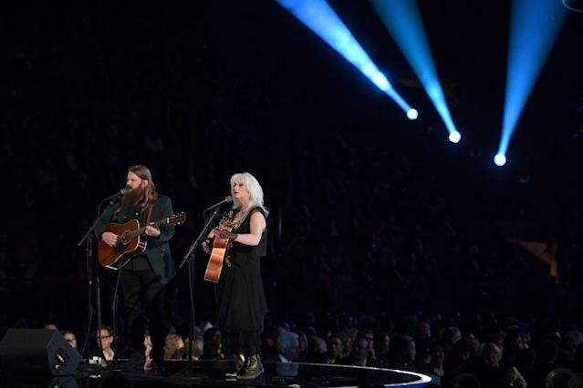 <p>Chris Stapleton and Emmylou Harris perform during the 60th Annual Grammy Awards show on January 28, 2018, in New York. (Timothy A. Clary/AFP via Getty Images) </p>