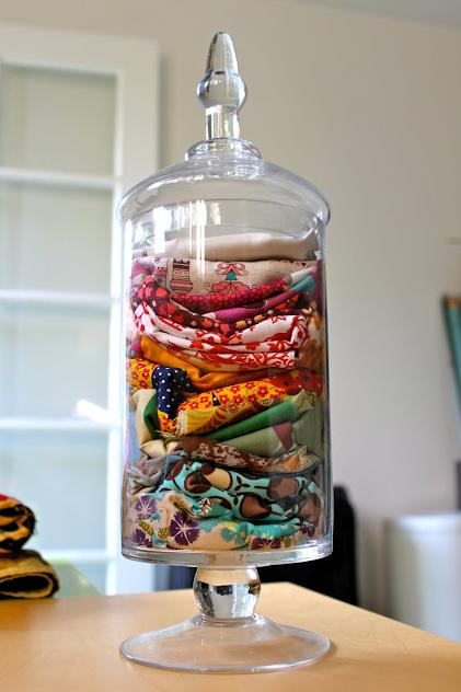 "<div class=""caption-credit""> Photo by: Pretty Prudent</div><div class=""caption-title""></div><b>Apothecary Jar for Fabric Scraps</b> <br> Store your fabric scraps in an apothecary jar so you can easily see them inside. <br> <i>Find out more at <a rel=""nofollow"" href=""http://prudentbaby.com/2009/11/prudent-home/quick-tip-fabric-scrap-storage-2/"" target=""_blank"">Pretty Prudent</a>.</i>"