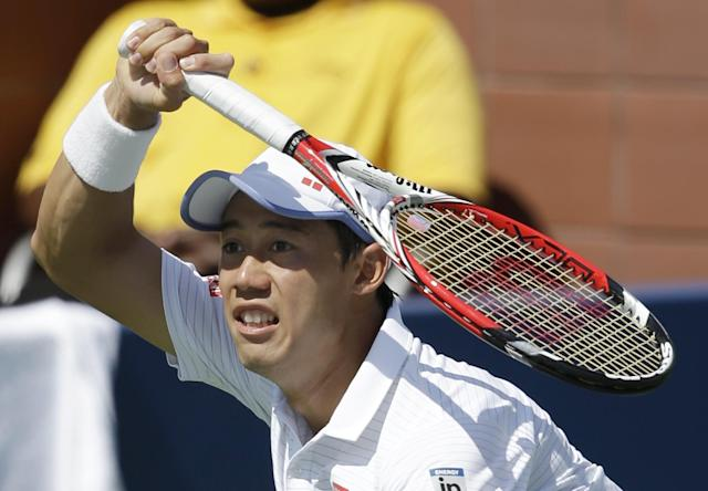 Kei Nishikori, of Japan, returns a shot against Leonardo Mayer, of Argentina, during the third round of the 2014 U.S. Open tennis tournament, Saturday, Aug. 30, 2014, in New York. (AP Photo/Seth Wenig)