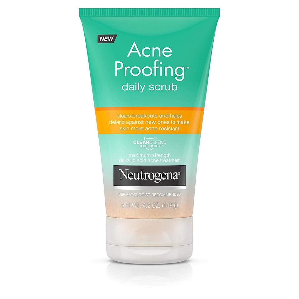 "<p>I use this <a href=""https://www.popsugar.com/buy/Neutrogena-Acne-Proofing-Daily-Facial-Scrub-Salicylic-Acid-548584?p_name=Neutrogena%20Acne%20Proofing%20Daily%20Facial%20Scrub%20with%20Salicylic%20Acid&retailer=amazon.com&pid=548584&price=7&evar1=bella%3Auk&evar9=47213277&evar98=https%3A%2F%2Fwww.popsugar.com%2Fbeauty%2Fphoto-gallery%2F47213277%2Fimage%2F47213400%2FNeutrogena-Acne-Proofing-Daily-Facial-Scrub-with-Salicylic-Acid&list1=shopping%2Cbeauty%20products%2Cacne%2Cbeauty%20shopping%2Cproduct%20reviews%2Cacne%20treatments%2Cskin%20care&prop13=api&pdata=1"" rel=""nofollow"" data-shoppable-link=""1"" target=""_blank"" class=""ga-track"" data-ga-category=""Related"" data-ga-label=""https://www.amazon.com/Neutrogena-Salicylic-Treatment-Exfoliating-Cleansing/dp/B075X1WJKQ/ref=sr_1_10?crid=2O3T5BXA6NDTA&amp;keywords=acne+fashwash&amp;qid=1581532954&amp;sprefix=acne+fas%2Caps%2C203&amp;sr=8-10"" data-ga-action=""In-Line Links"">Neutrogena Acne Proofing Daily Facial Scrub with Salicylic Acid </a> ($7, originally $9) in the shower about twice a week. It includes little beads that buff away flakes. I have also noticed that it reduces redness.</p>"