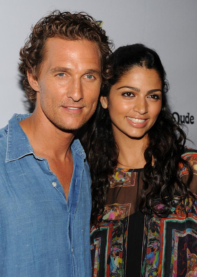 """Camilla Alves and <a href=""""http://movies.yahoo.com/movie/contributor/1800018907"""">Matthew McConaughey</a> at the Los Angeles premiere of <a href=""""http://movies.yahoo.com/movie/1809878352/info"""">Surfer Dude</a> - 09/10/2008"""