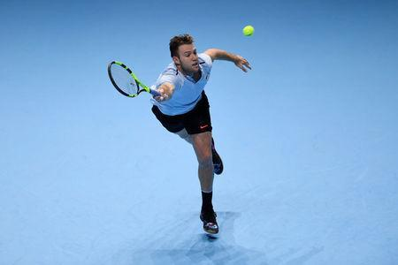 Tennis - ATP World Tour Finals - The O2 Arena, London, Britain - November 14, 2017 USA's Jack Sock in action during his group stage match against Croatia's Marin Cilic Action Images via Reuters/Tony O'Brien