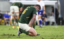 South Africa's Malcolm Marx reacts following the Rugby Championship test match between the Springboks and the All Blacks in Townsville, Australia, Saturday, Sept. 25, 2021. (AP Photo/Tertius Pickard)