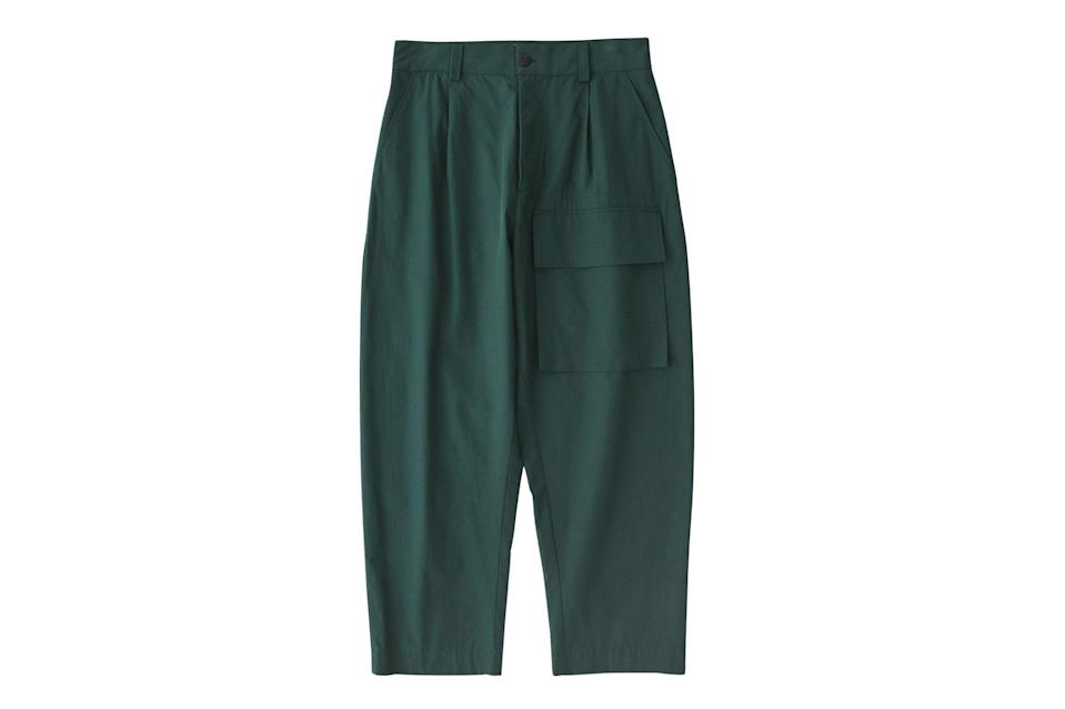 """$268, Studio Nicholson. <a href=""""https://www.studionicholson.com/collections/trousers/products/rosario-pant-in-wakame?variant=37855029264537"""" rel=""""nofollow noopener"""" target=""""_blank"""" data-ylk=""""slk:Get it now!"""" class=""""link rapid-noclick-resp"""">Get it now!</a>"""