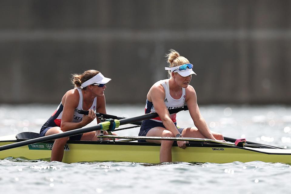 Helen Glover (left) and Polly Swann of Team GB react after coming in fourth in the women's pair final (Getty)