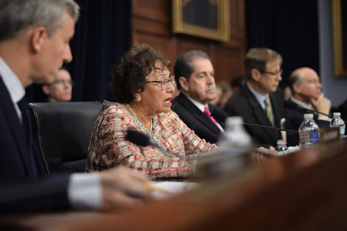 House Appropriations Committee Chairwoman Nita Lowey, D-N.Y., questions Barr on Capitol Hill on Tuesday. (Photo: Chip Somodevilla/Getty Images)