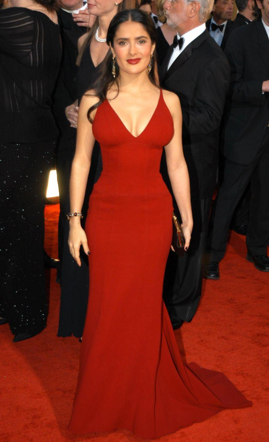 <p>Not only was a knockout in red, but Hayek's curve-hugging Narciso Rodriguez gown was one we'll never forget from the 2003 ceremony.</p>