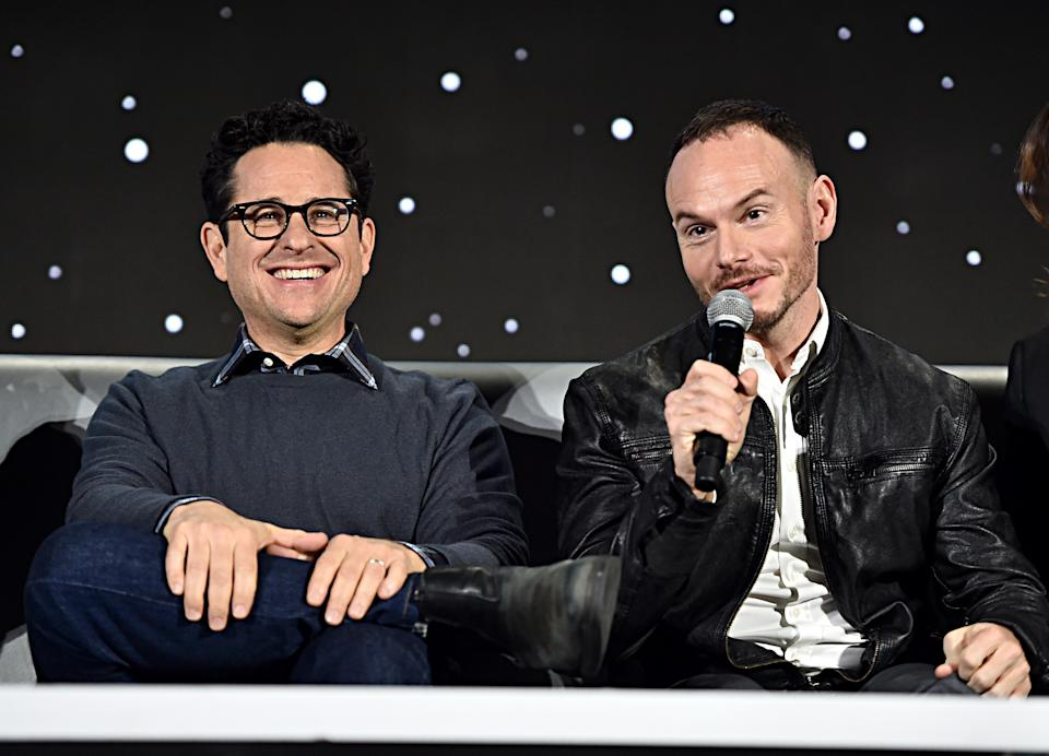 "PASADENA, CALIFORNIA - DECEMBER 04: Writer/director J.J. Abrams and Co-writer Chris Terrio participate in the global press conference for ""Star Wars:  The Rise of Skywalker"" at the Pasadena Convention Center on December 04, 2019 in Pasadena, California. (Photo by Alberto E. Rodriguez/Getty Images for Disney)"