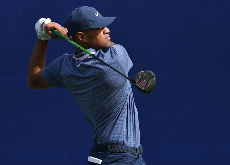 SAN DIEGO, CALIFORNIA - JANUARY 24: Tony Finau plays his shot from the seventh tee on the South Course during the first round of the 2019 Farmers Insurance Open at Torrey Pines Golf Course on January 24, 2019 in San Diego, California. (Photo by Donald Miralle/Getty Images)