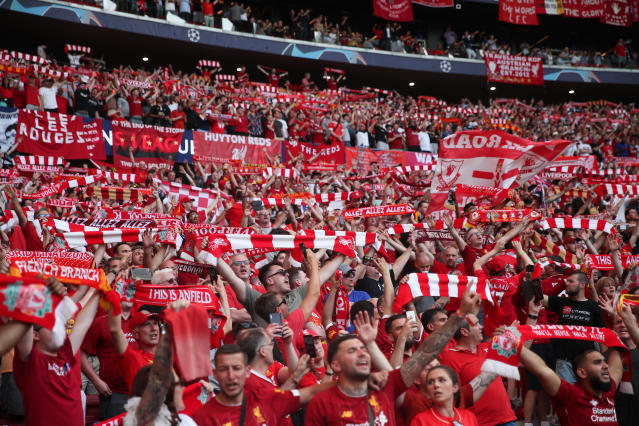 Liverpool fans during the UEFA Champions League final. (Photo by Matthew Ashton - AMA/Getty Images)