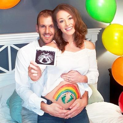 <p>Married at First Sight stars Jamie Otis and Doug Hehner are expecting a baby this summer six months after miscarried their first child, Johnathan Edward. The pair announced their good news with this colourful rainbow baby bump pic. [INSTAGRAM] </p>