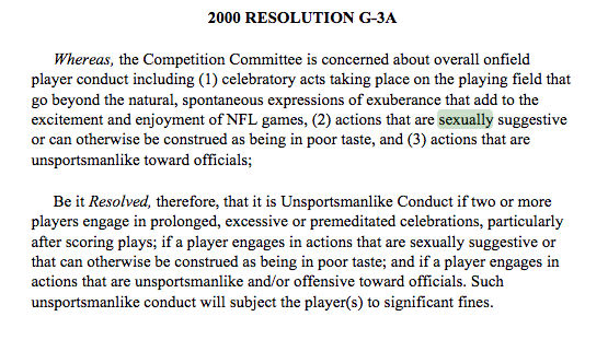 The NFL clearly states that no