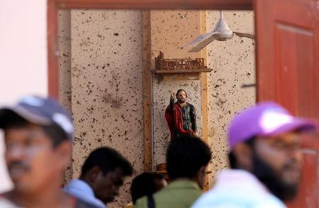 Damage is seen at St. Sebastian Catholic Church, after bomb blasts ripped through churches and luxury hotels on Easter, in Negombo, Sri Lanka April 22, 2019. REUTERS/Athit Perawongmetha