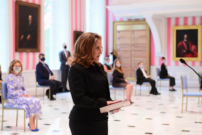 Chrystia Freeland is sworn in as Canada's Finance Minister during a cabinet shuffle at Rideau Hall August 18, 2020 in Ottawa. - Prime Minister Justin Trudeau tapped Chrystia Freeland to be Canada's first female finance minister on Tuesday as an ethics scandal that clipped her predecessor's wings reverberates through the government. Freeland received a standing ovation after being sworn in at a small ceremony at Rideau Hall, the official residence of Governor General Julie Payette in Ottawa. (Photo by Sean KILPATRICK / POOL / AFP) (Photo by SEAN KILPATRICK/POOL/AFP via Getty Images)