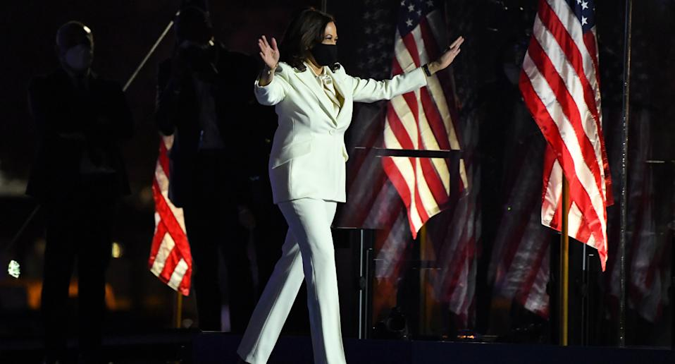 Kamala Harris walking onto the stage in Wilmington, Delaware, to accept vice presidency.