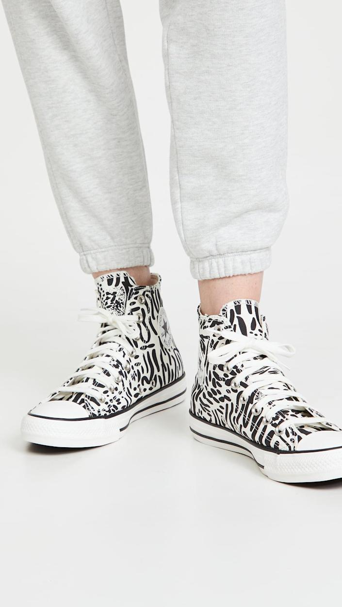 <p>How fun are these black-and-white <span>Converse Chuck Taylor All Star High Top Sneakers</span> ($42, originally $60)?</p>