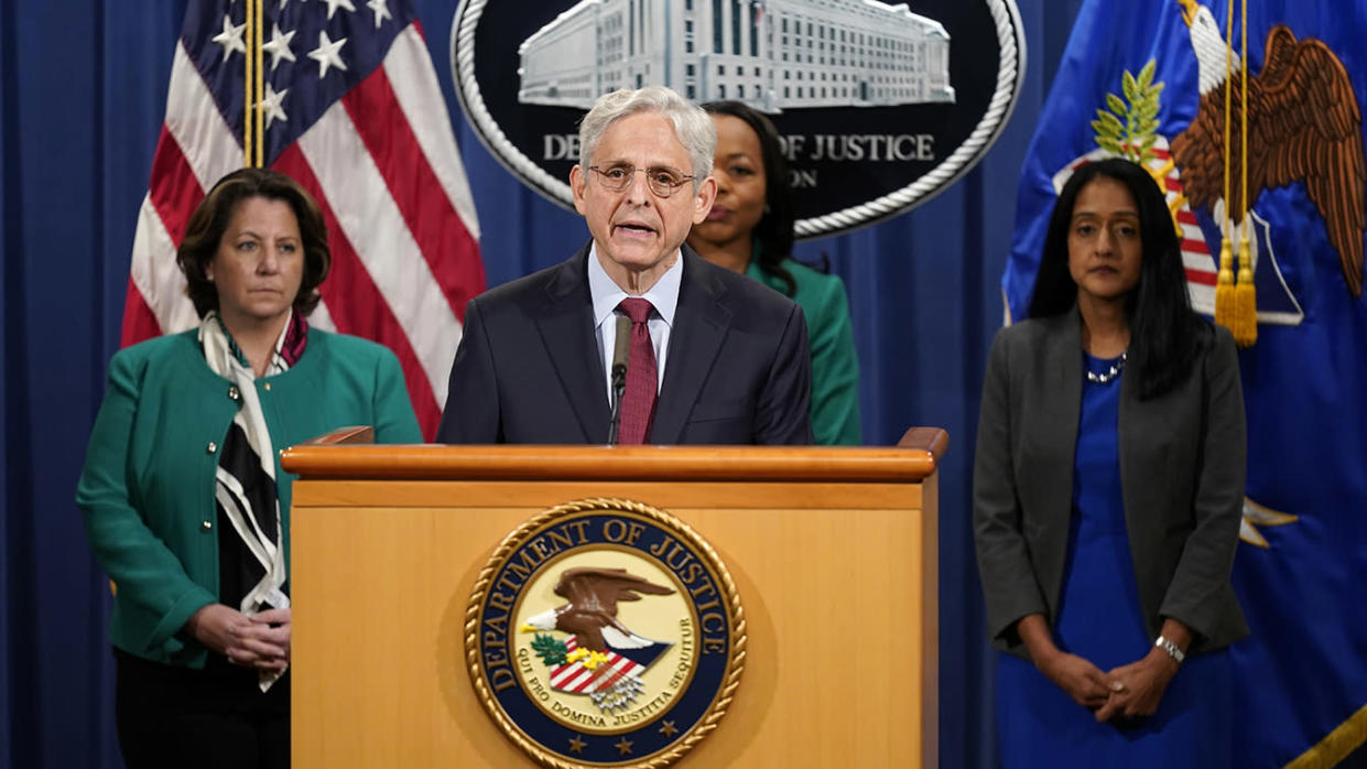 Attorney General Merrick Garland speaks during a news conference on voting rights at the Department of Justice in Washington, Friday, June 25, 2021. (Patrick Semansky/AP)