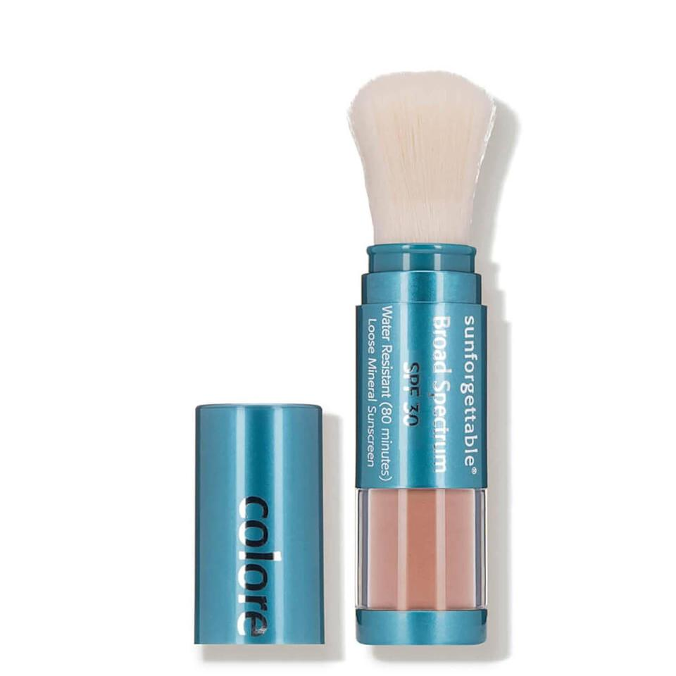 """<p><strong>Colorescience</strong></p><p>dermstore.com</p><p><strong>$69.00</strong></p><p><a href=""""https://go.redirectingat.com?id=74968X1596630&url=https%3A%2F%2Fwww.dermstore.com%2Fcolorescience-sunforgettable-brush-on-sunscreen-spf-30-0.21-oz.%2F12905232.html&sref=https%3A%2F%2Fwww.townandcountrymag.com%2Fleisure%2Farts-and-culture%2Fg37093233%2Falexandra-daddario-white-lotus-travel-essentials%2F"""" rel=""""nofollow noopener"""" target=""""_blank"""" data-ylk=""""slk:Shop Now"""" class=""""link rapid-noclick-resp"""">Shop Now</a></p><p>""""I double up on sunscreen—I use both [Colorescience and Epicuren]. I think that it's important because I <em>will</em> burn. I do it in day-to-day life and especially on beach vacations,"""" she says. """"In my head, I'm like, 'Well what if one of them doesn't work?'""""</p>"""