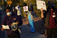 Healthcare workers protest coronavirus pandemic working conditions at Sunrise hospital Wednesday, Dec. 2, 2020, in Las Vegas. (AP Photo/John Locher)